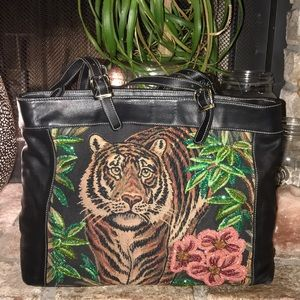 Isabella Fiore Vtg beaded Tiger satchel tote purse